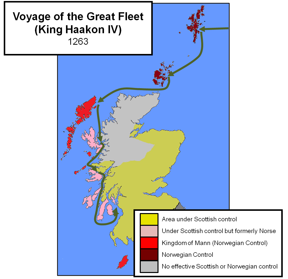 Voyage of Haakon IV. With a fleet of between 120-200 ships, the Norwegian  King sailed first to Shetland, then Orkney and Lewis before working his way  south ...